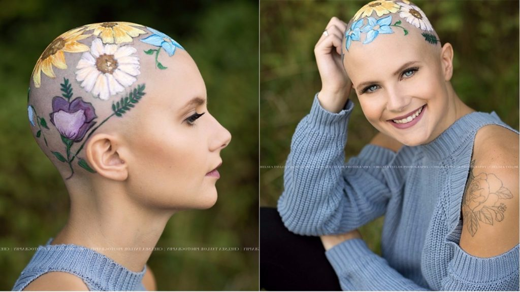 Mom Spends Hours Painting Daughter's Bald Head Beautifully But There's A Secret