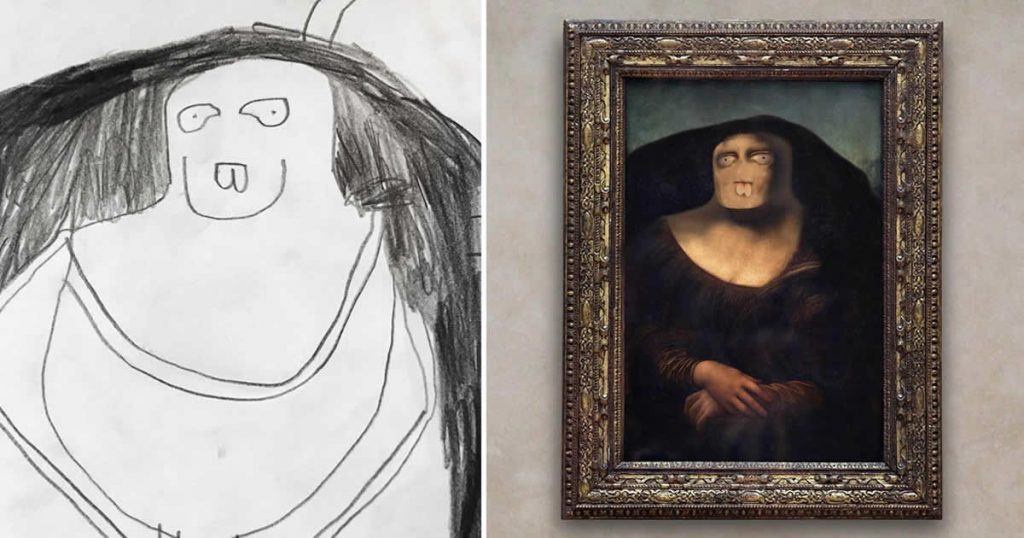 Dad Turns His 6- Year- Old Son's Drawings Into Hilarious Reality And They Are Creepy
